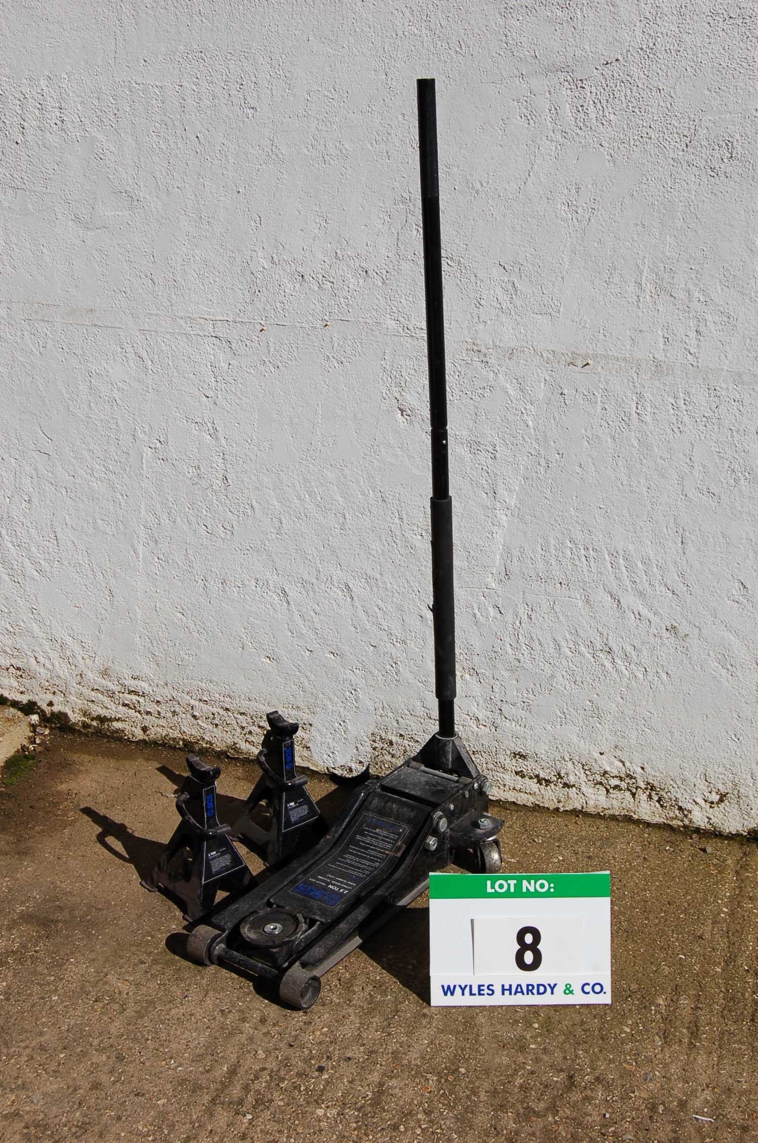 Lot 8 - SGS 2.5-Tonne Trolley Jack and A Pair of SGS 2-Ton Ratchetable Axle Stands