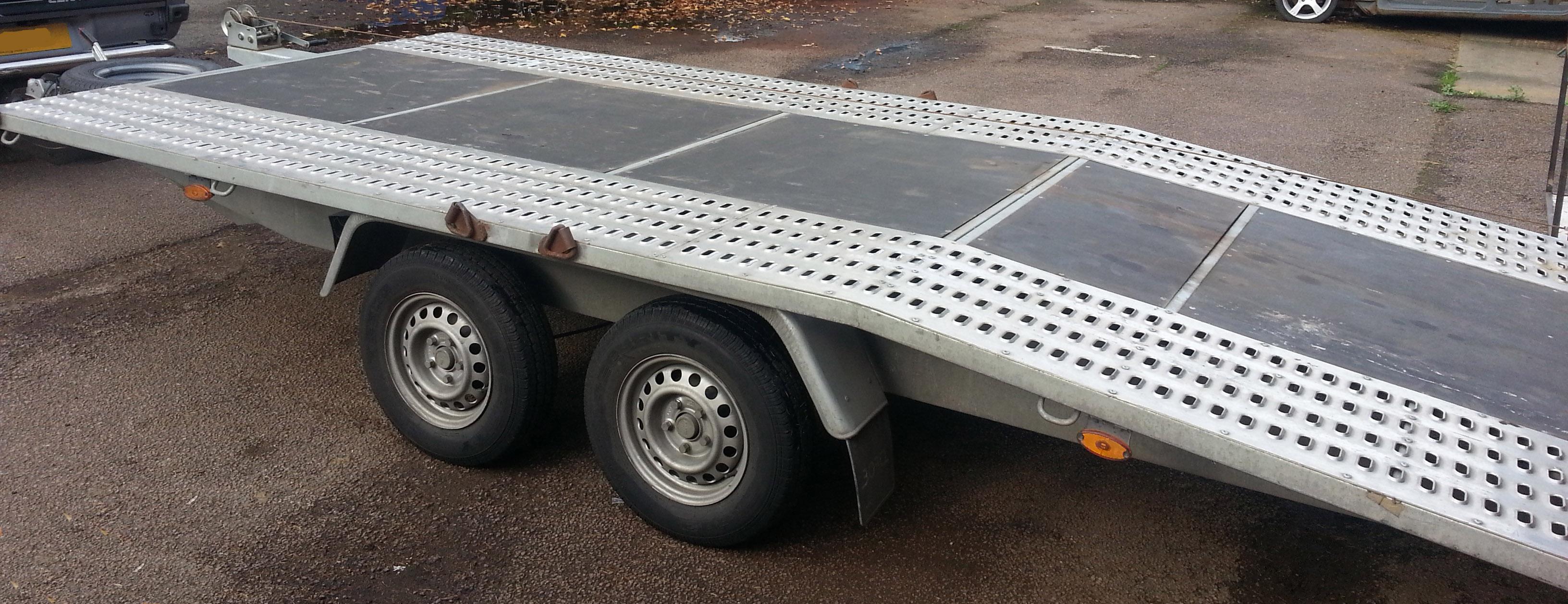 Lot 36 - BORO Model E946.0039 Galvanised Steel Beavertail Twin Axle 4.5M Long Flatbed Vehicle Trailer,