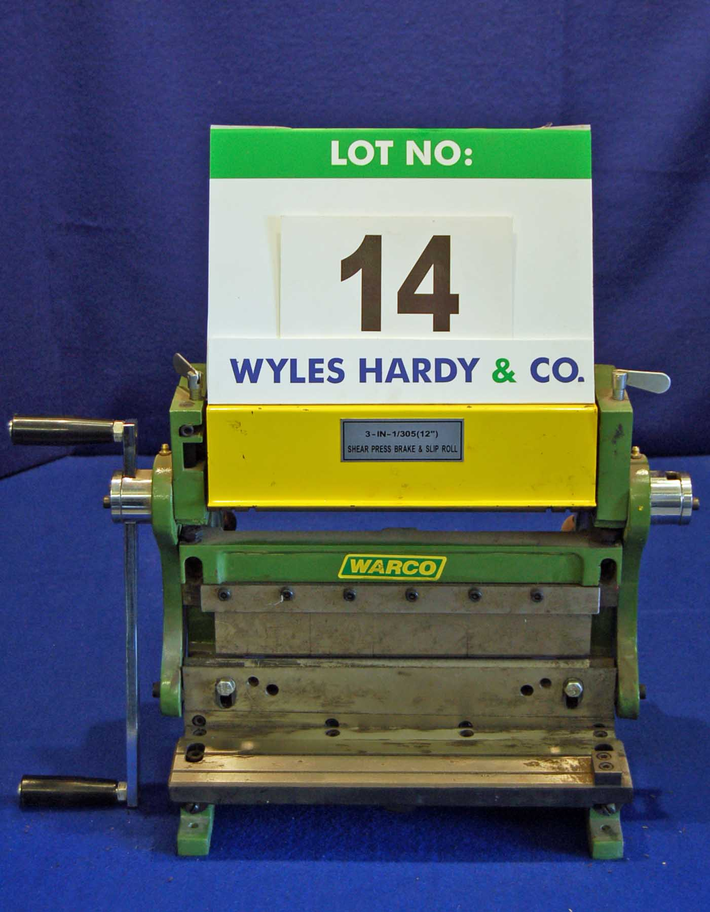 Lot 14 - WARCO Bench mounted Folder/Guillotine/Initial Pinch Pyramid Bending Rolls with Swage Ends