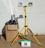 Lot 32 - A Twinhead LED Worklight with Tripod Base (240V) and A Box of Assorted Plastic Storage Bins (As