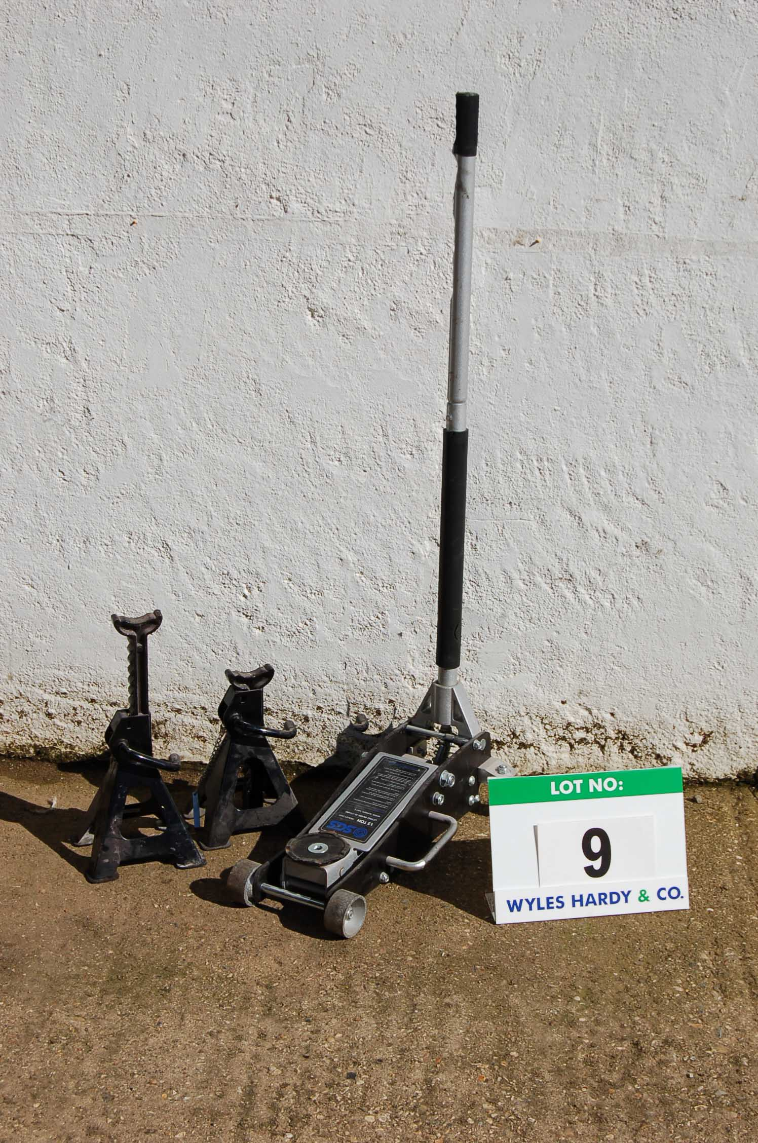 Lot 9 - SGS 1.5-Tonne Trolley Jack and A Pair of SGS 2-Ton Ratchetable Axle Stands