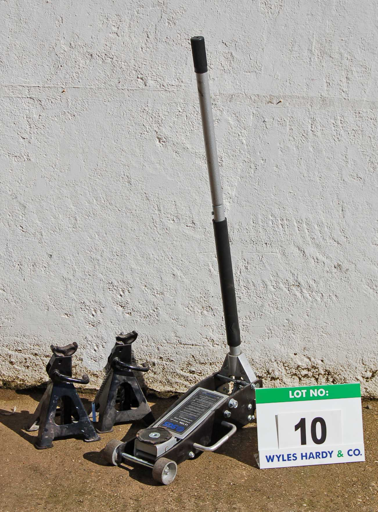 Lot 10 - SGS 1.5-Tonne Trolley Jack and A Pair of SGS 2-Ton Ratchetable Axle Stands
