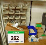 Two Wall Mountable Lin Bin Racks and 32 Storage Bins and Fixings Content