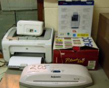 A HP LASERJET P1102 Printer, A FELLOWES A4 Laminator, A BROTHER P-TOUCH 2430 Label Printer and A