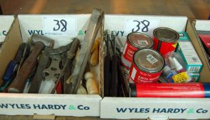 A Box of Hand Tools and A Box of Consumables (As Photographed)