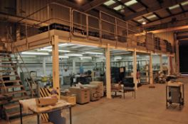 An Approx. 18M x 6M Bolted Steel Mezzanine Floor with Two Steel Access Staircases, Safety Hand