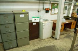 A Quantity of Workshop Furniture Including 2 Four-Drawer Filing Cabinets, Steel Locker, An