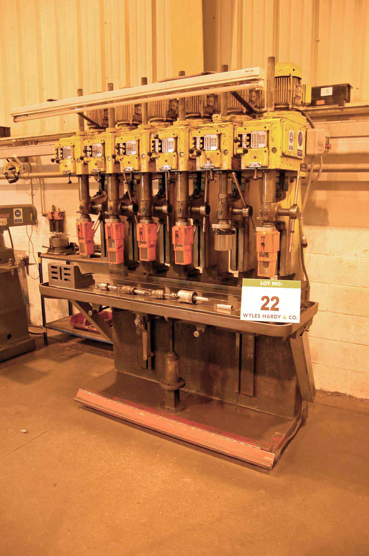 Lot 22 - A POLLARD CORONA Model 15LY1 In-Line 6-Spindle Vertical Pillar Drilling Machine, Serial No.