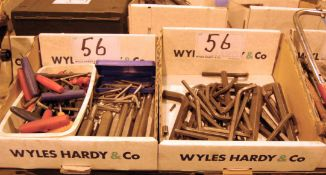 Two Boxes of Allen Keys and T-Bar Hex Keys and Drift Punches (As Photographed)