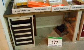 A 1450MM x 750MM Steel Framed Workbench with Multi Drawer Under Cabinet