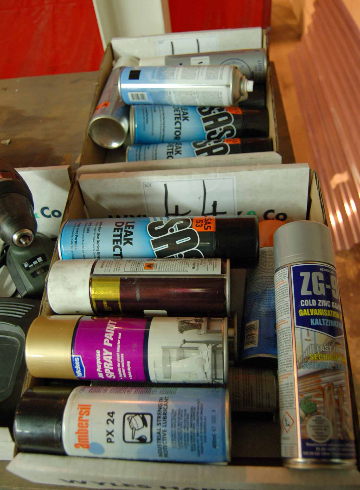 Lot 44 - Two Boxes of Aerosols Including Paint, Leak Detector Primer (As Photographed)