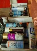 Two Boxes of Aerosols Including Paint, Leak Detector Primer (As Photographed)