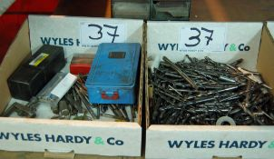 Two Boxes of Asorted Drill Bits and Taps (As Photographed)