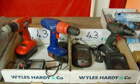Three Cordless Drill Drivers and Chargers (As Photographed) (All Faults)