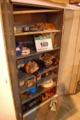 A Two-Door Steel Cabinet and Personal Protective Equipment and Contents of Consumables (As