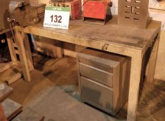 Three Welded Steel Workbenches with One Record No 25 Engineers Vice