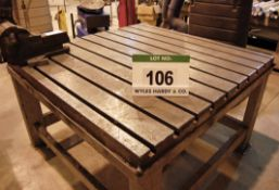 A 60inch x 60inch Steel T-Slotted Welding Table