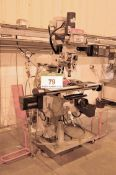 An XYZ EMX Turret Head Milling Machine, Serial No. 104138 (2015), Max. RPM 3500, 1070mm x 230mm T-