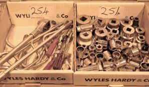 Two Boxes of Various 3/4 and 1/2 Inch Socket Extension and Rachets (As Photographed)