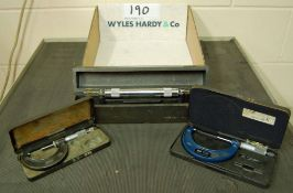 A MOORE AND WRIGHT Surface Level and Two MOORE AND WRIGHT External Micrometers 25-150MM and 50-75MM