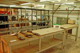 Two Welded Steel Work Benches Approx 2.3m x 0.7m and 1.6m x 0.7m (As Photographed)