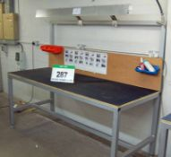 A 2m x 0.8m Welded Steel Workbench with Overhead Lighting and Rubber Worksurface