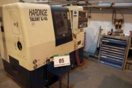 A HARDINGE Talent 6/45 CNC Turning Centre, Manufacturing No. BLAA4I0085 (2004), fitted 12-Position
