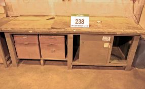 A 2m x 0.9m Wooden Framed Workbench with Under Storage and Five 2-Drawer Storage Cabinets