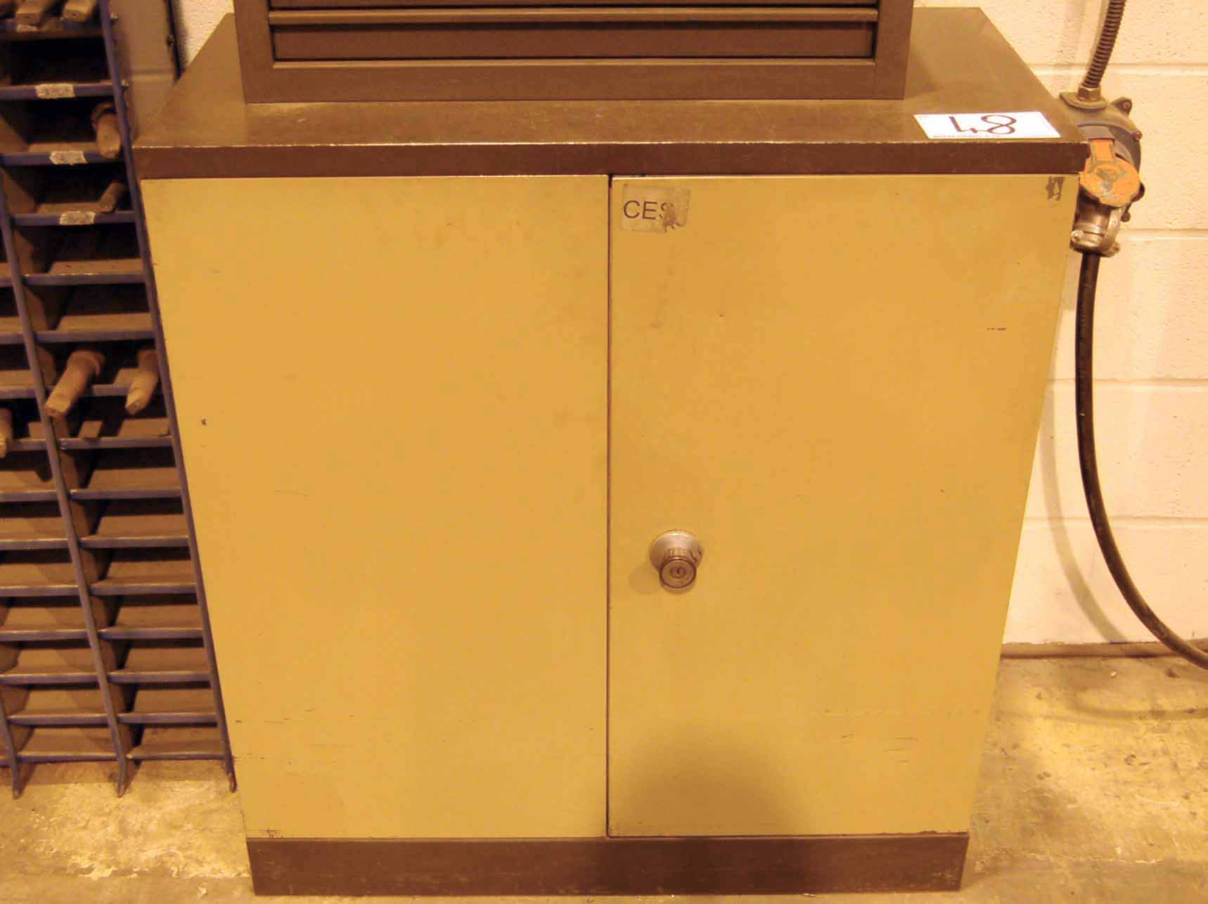 Lot 48 - Three 2 Door Steel Tool Cupboards and Three Welded Steel Workpiece Assembly Benches (As