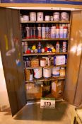 A Two-Door Steel Flammables Cupboard and Contents. Including Paint, Primer, Varnish and Lacquer (