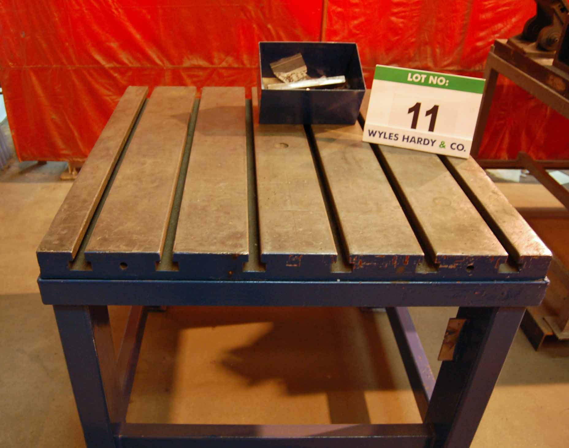 Lot 11 - A 1060mm x 1060mm x 950mm height Cast Iron T-Slotted Workpiece Table