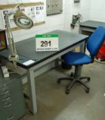 A 1.5m x 0.75m Bolted Steel Framed Workbench and Blue Upholstered Office Chair
