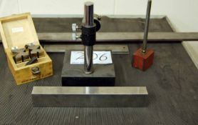 Three Steel Straight Edges, A Magnetic Dial Indicator Stand, A Imperial Dial Indicator Gauge and Two