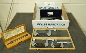 A MOORE AND WRIGHT Internal Mircometer and A KEARN Box Set of Three External Micrometers. 25-50mm,