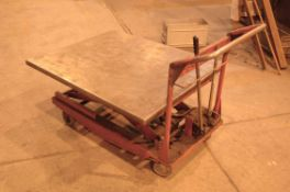 A Welded Steel Scissorlift Trolley with Hand Operated Pump (As Photographed)