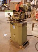 A BEWO Approx. 340mm dia. Metal Cutting Pull-Down Chop Saw mounted on Pedestal Base