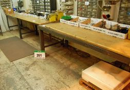 A 4m x 0.9m Welded Steel Frane Workbench and A 2.4m x 0.9m Welded Steel Framed Workbench (As