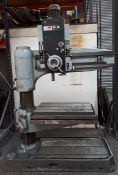 QUALTERS & SMITH R4 4' Radial Arm Drill Serial No. 889 with Rise & Fall 'T' Slotted Table, Speed Ra