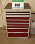 A 9 Drawer Steel Tool Cabinet and a 5 Drawer Mobile Tool Cabinet on Castor Wheels
