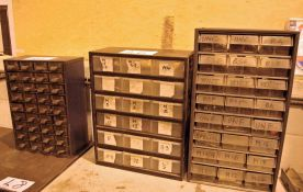 Three Multi-Parts Cabinets and Contents Including Taps, Drills and A Mobile Lin Bin, Rack and