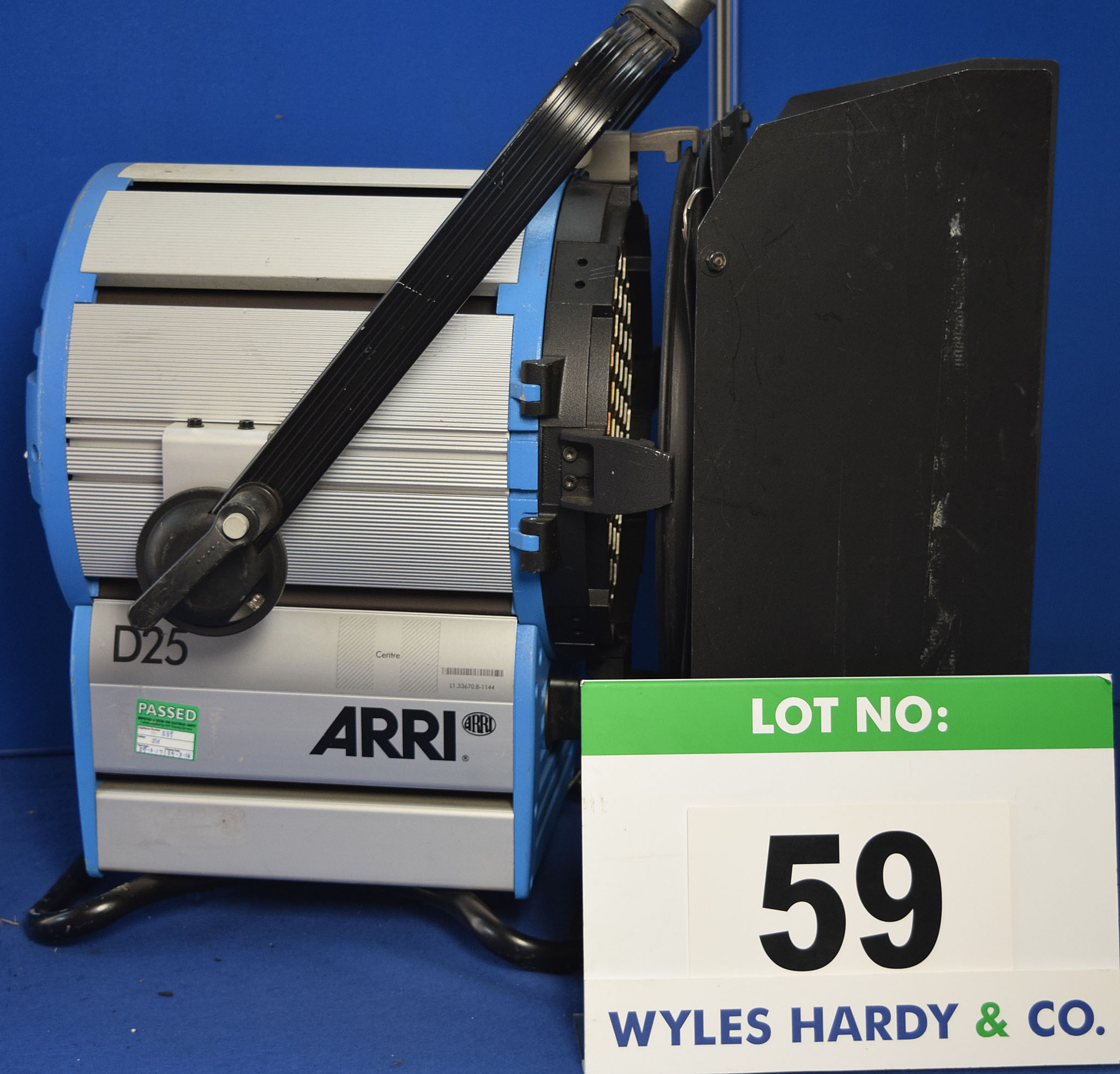Lot 59 - An ARRI D25 2500W Light with fitted Barn Doors and Stirrup Mount. Recorded Hours: 191 hours