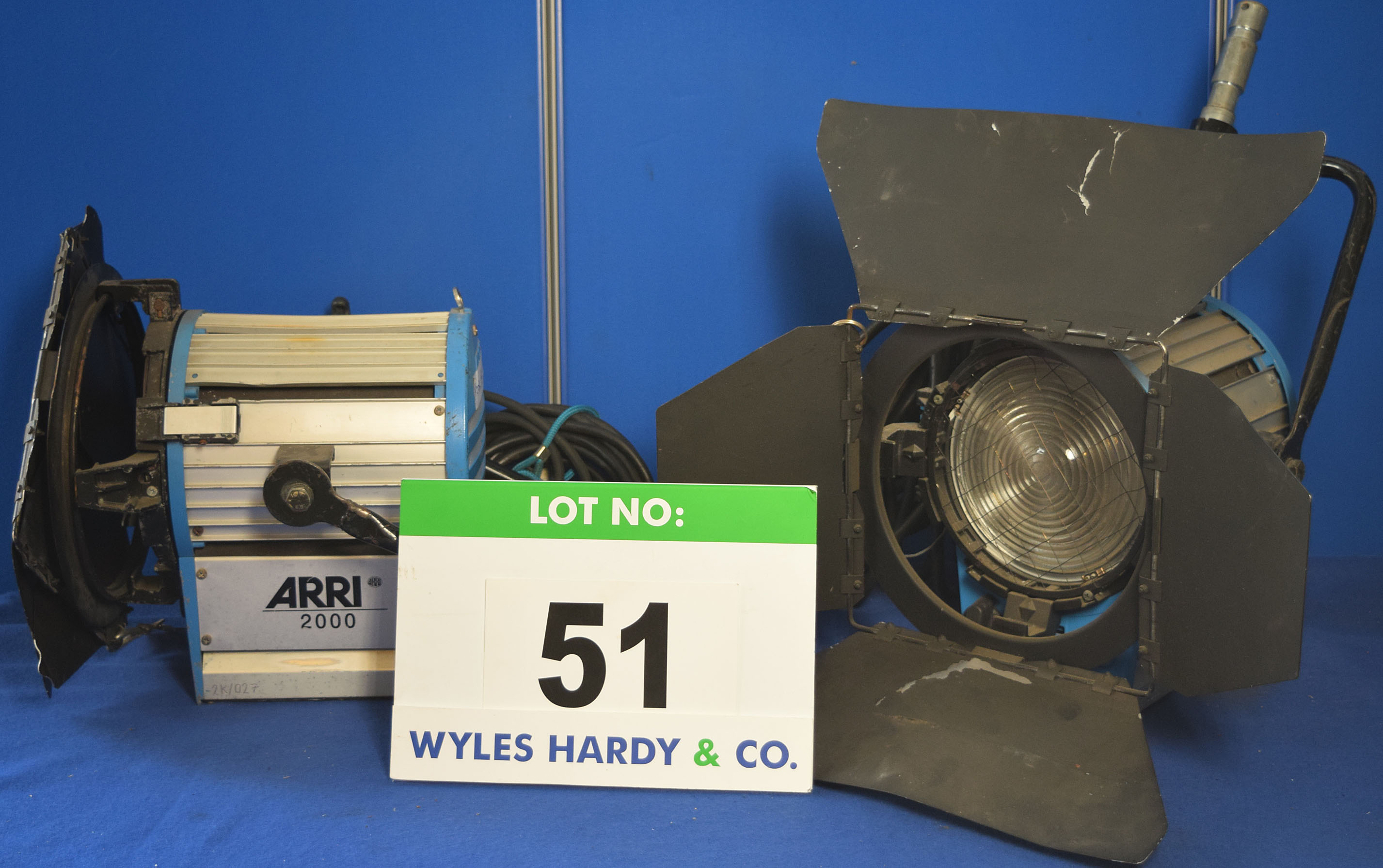 Lot 51 - Two ARRI 2000 2000W Lights each with fitted Barn Doors and Stirrup Mounts