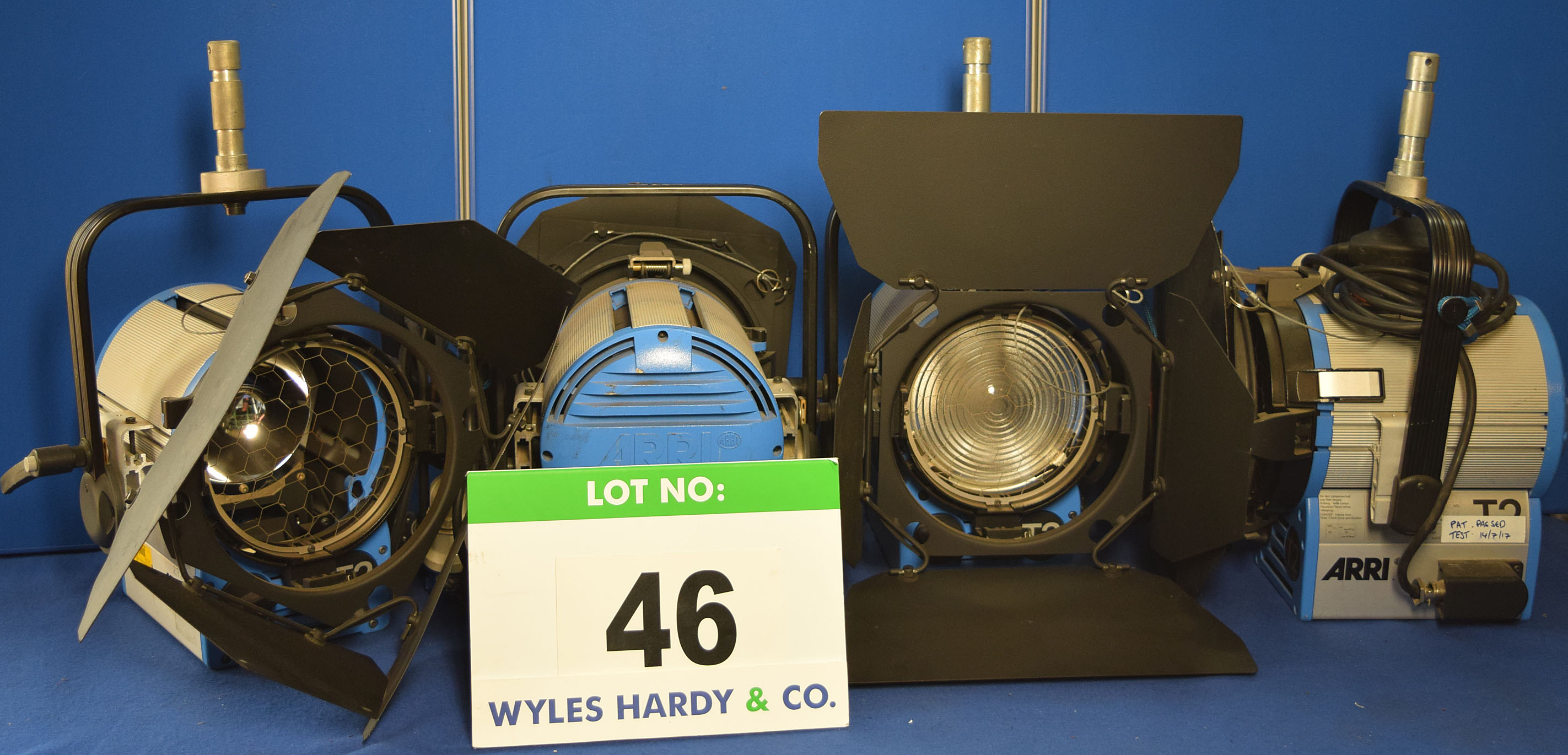 Lot 46 - Four ARRI T2 2000W Lights each with fitted Barn Doors and Stirrup Mount