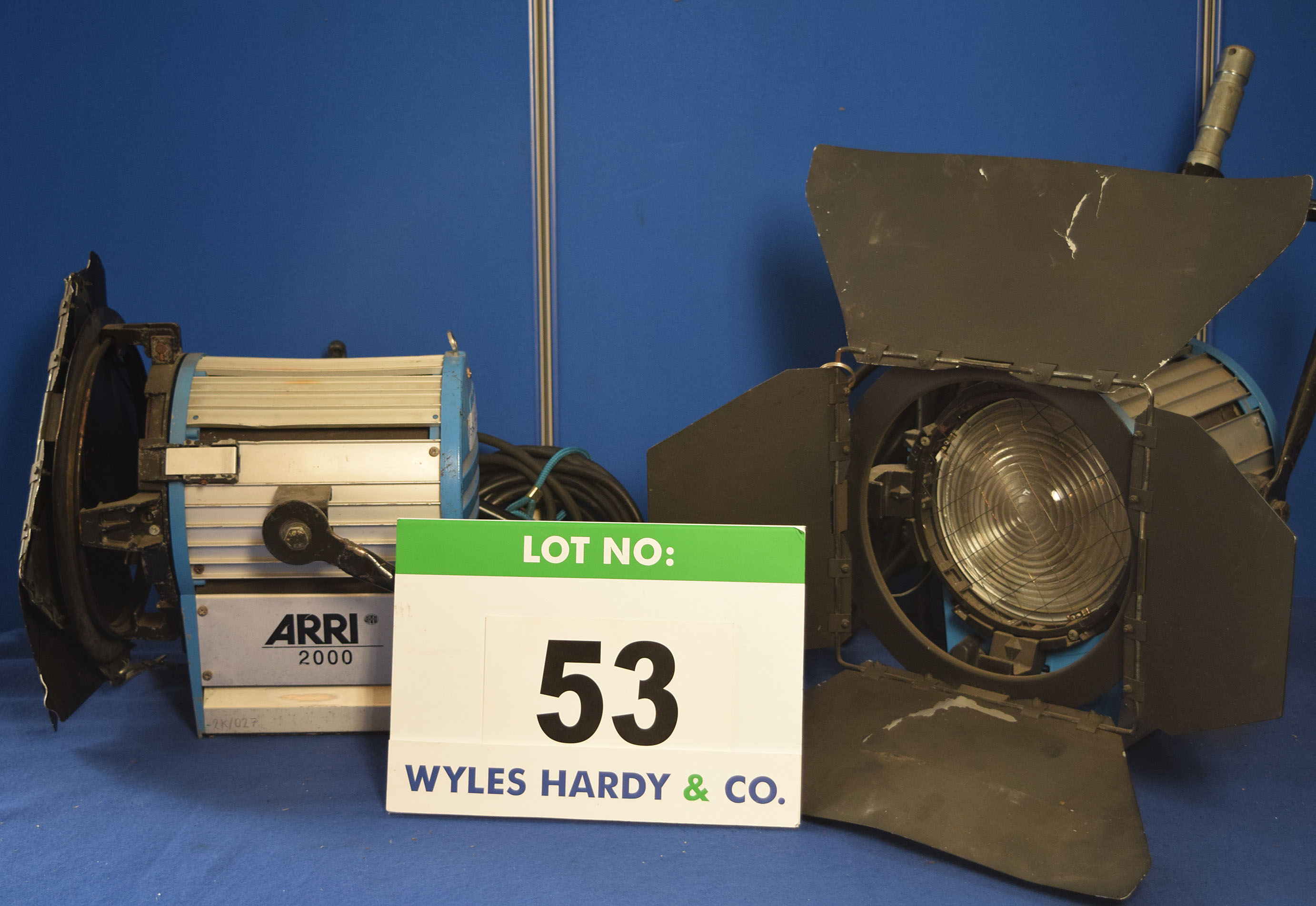 Lot 53 - Two ARRI 2000 2000W Lights each with fitted Barn Doors and Stirrup Mounts