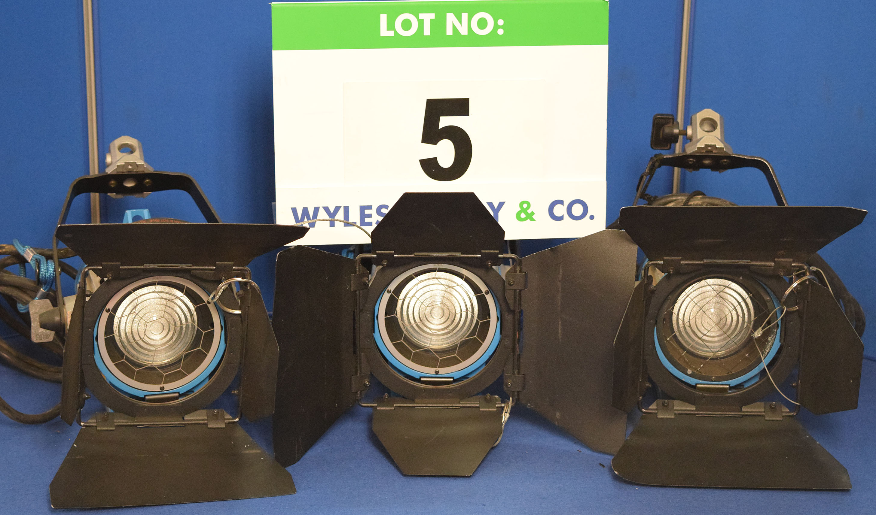 Lot 5 - Three ARRI 300 Plus 300W Lights each with fitted Barn Doors and Stirrup Mount