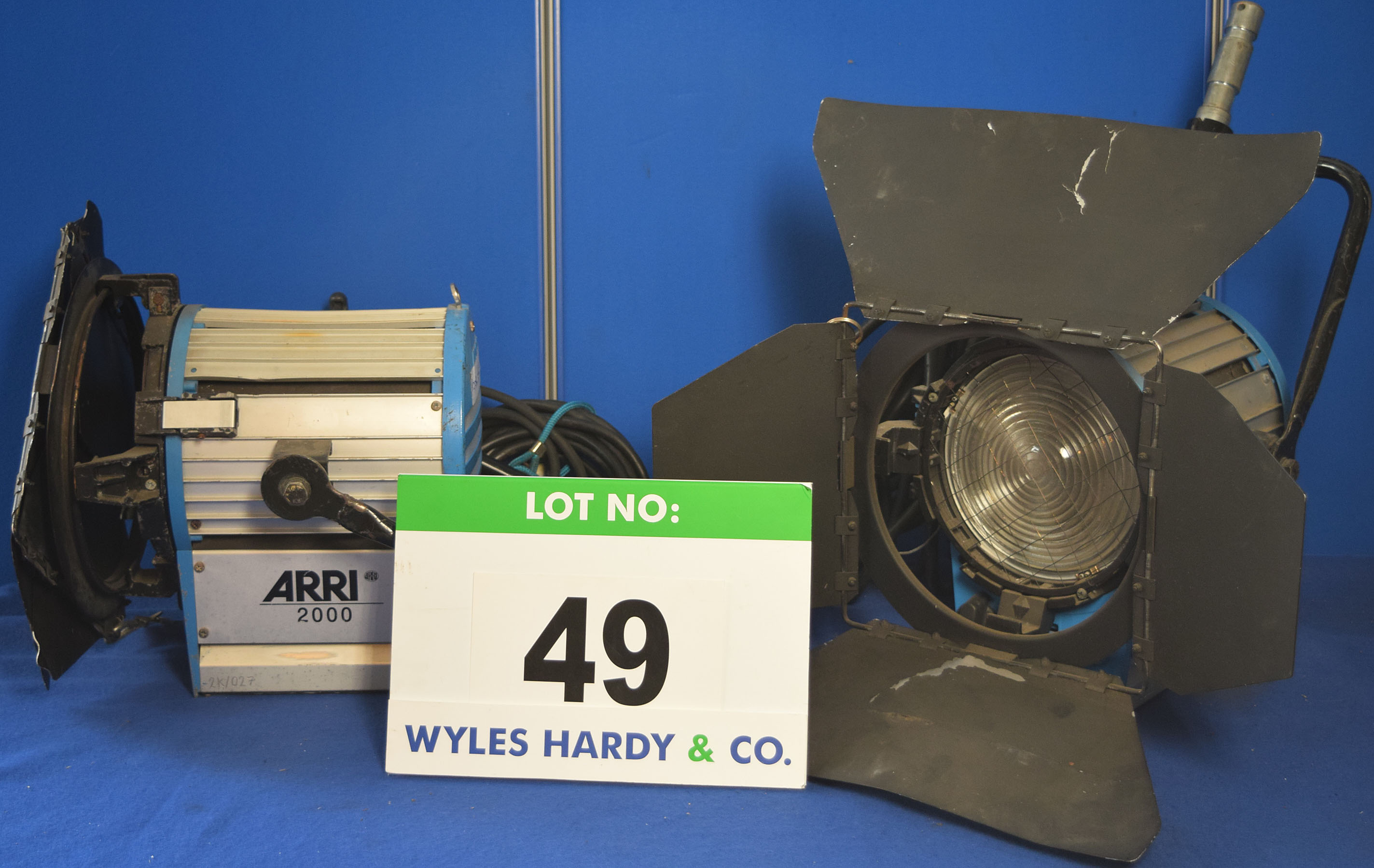 Lot 49 - Two ARRI 2000 2000W Lights each with fitted Barn Doors and Stirrup Mounts