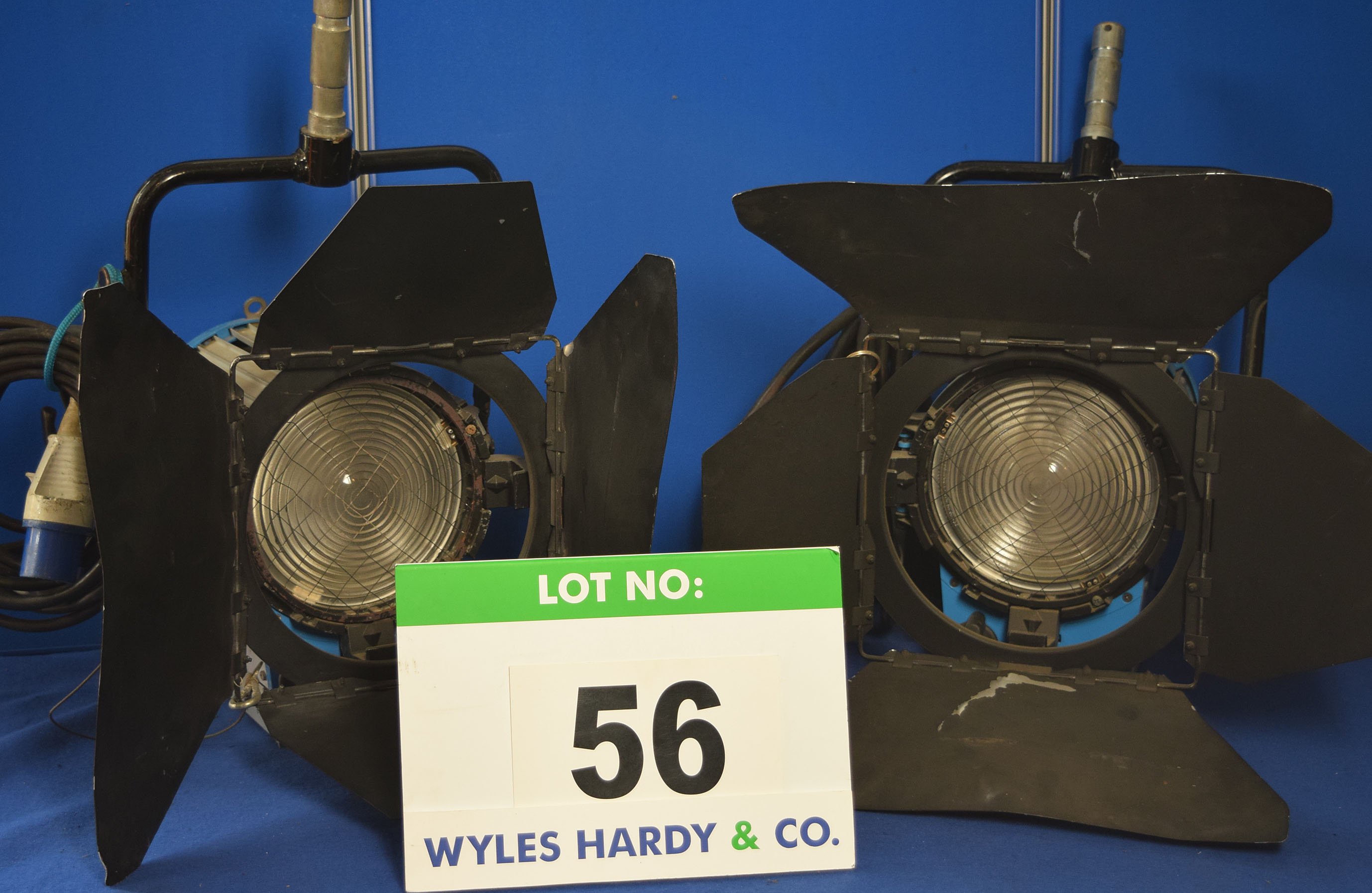 Lot 56 - Four ARRI 2000 2000W Lights each with fitted Barn Doors and Stirrup Mounts