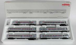 ZUGPACKUNG, Herst. Märklin/Göppingen, Spur H0, Streamliner-Set Amtrak, Nr. 43600, orig. Karton,
