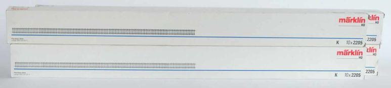 FLEXGLEISE, Herst. Märklin/Göppingen, Spur H0, flexible Gleise 900mm (5/1), 4 x Nr. 2205, zus. 40