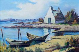 """FAUQUE, G., """"Cabane de Gardiems en Camarque"""", Öl/ Lw., rechts unten signiert, 38 x 55 cm,"""